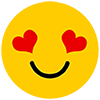 smiling emoji with heart eyes